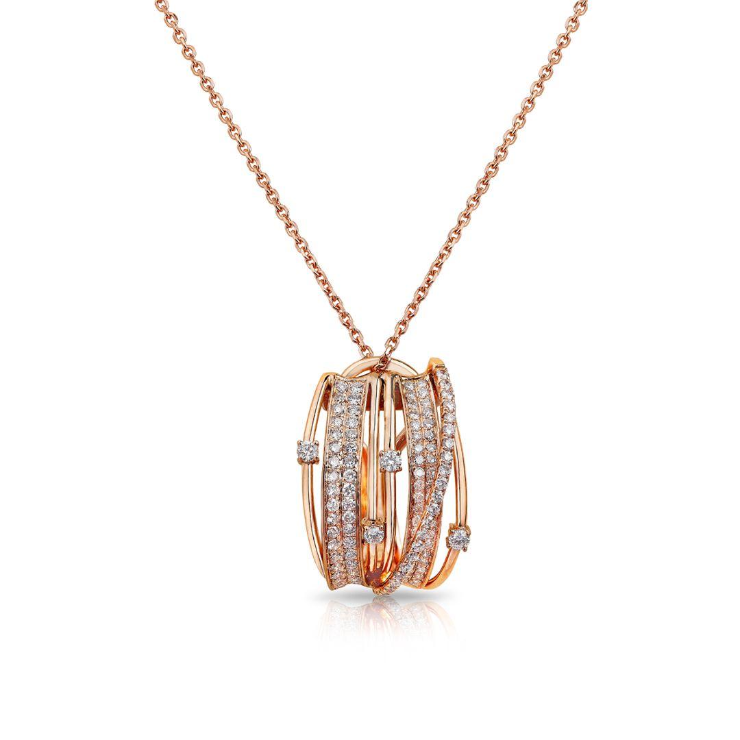 Midnight Rose Pendant Pave Diamonds set in 18K Rose Gold