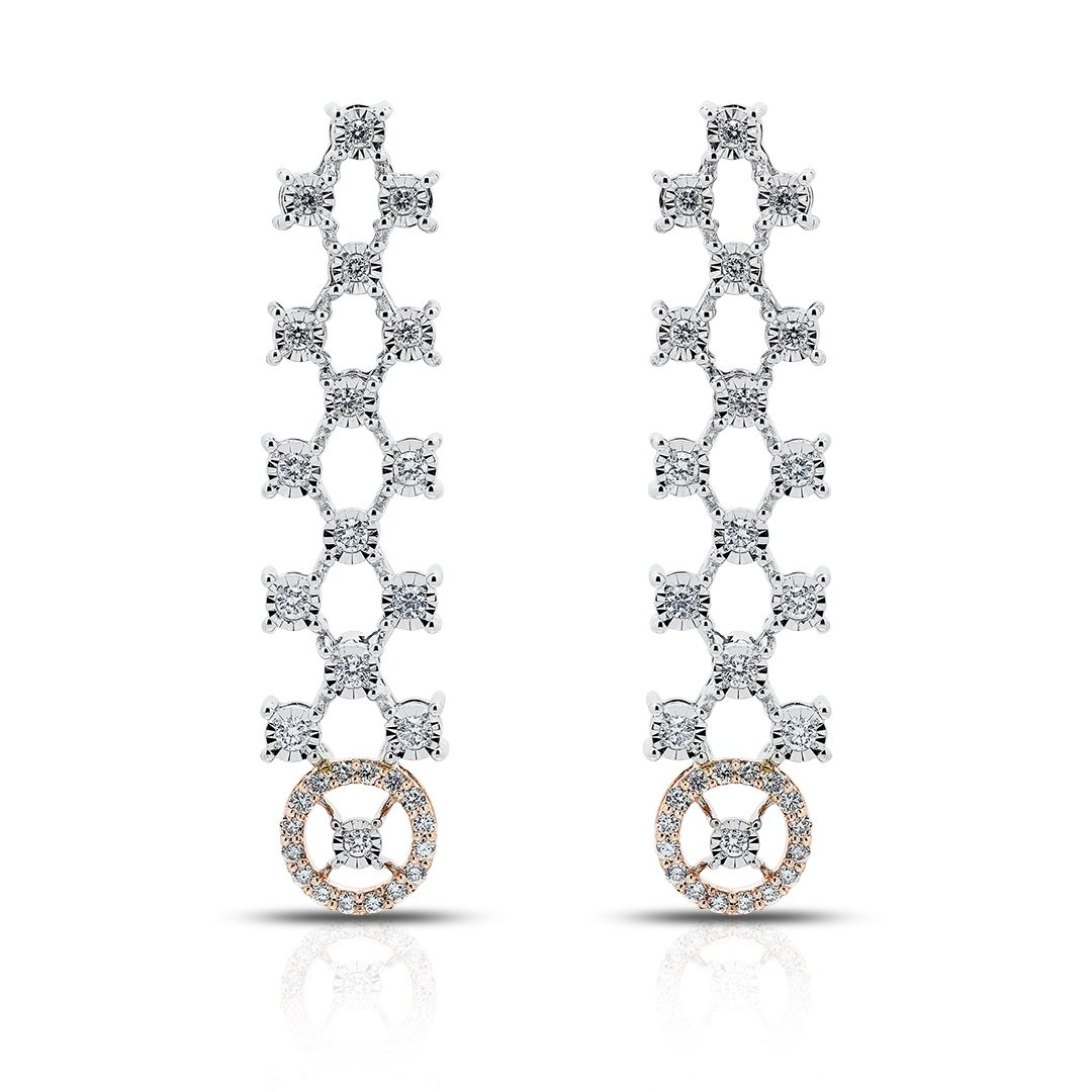 Elegant hanging Earrings in 18K Gold and Diamonds