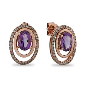 Oval Earrings inAmethyst and Diamonds in 18K Rose Gold