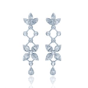 White Gold Long Pear Drop Diamond Earrings with leaves