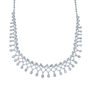 Pear Drop Diamond Necklace with leaves in 18 Karat White Gold