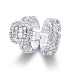 Emerald-cut diamond Halo Wedding and Engagement ring in 18K gold - Love Bands