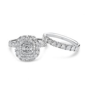 Diamond Halo Wedding and Engagement ring - Love Bands
