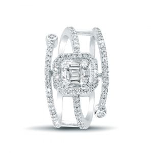 Emerald-cut engagement ring with 2 lines of Diamond band