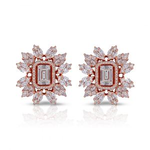 Flower Earrings in Emerald-cut and Marquise shaped Diamond in 18K Rose Gold