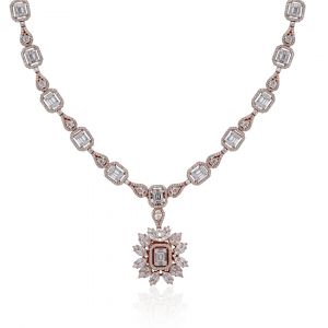 Round and Marquise shaped Diamond Necklace in 18K Rose Gold