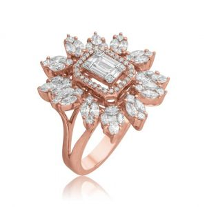 Flower Rings in Emerald-cut and Marquise shaped Diamond in 18K Rose Gold - Regular