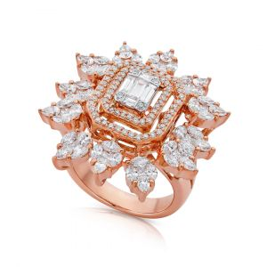 Flower Rings in Emerald-cut and Marquise shaped Diamond in 18K Rose Gold - Large