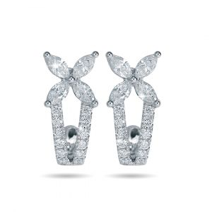 Flower Earrings in Marquise Diamonds in 18K White Gold - 4 petals