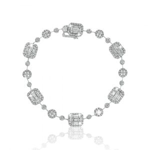 Emerald Cut Diamond Bracelet in 18K White Gold
