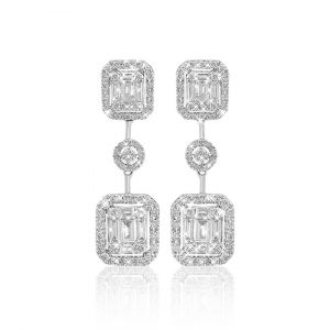 Emerald-cut Diamond dangling Earrings in 18K White Gold