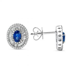 Sapphire Earrings with baguette and round Diamonds in 18K White Gold