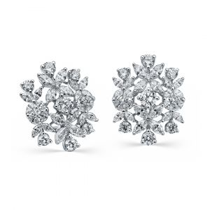Round and Marquise shaped Diamond Earrings in 18K White Gold