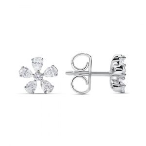 Flower Earrings in Marquise Diamonds in 18K White Gold - 5 petals