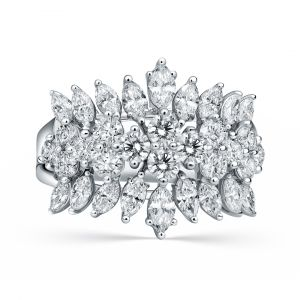 Round and Marquise shaped Diamond Ring set in 18K White Gold
