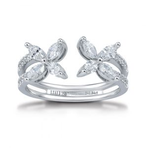 Flower ring in Marquise Diamonds set in 18K White Gold - 2 flowers
