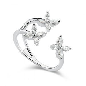 Flower ring in Marquise Diamonds set in 18K White gold - 3 flowers