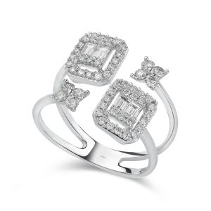 Diamond ring with Emerald-cut twin heads & flowers in 18K White Gold