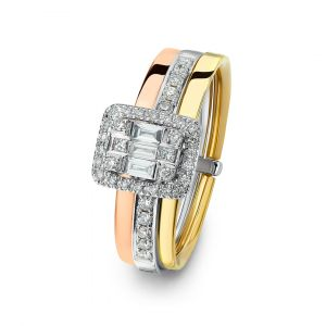 Emerald-cut Diamond Ring in tricolor 18K gold band