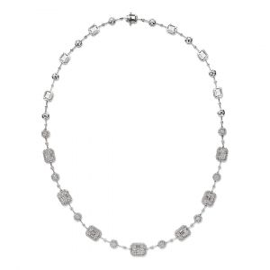 Emerald Cut diamond Necklace in 18K white gold - single line
