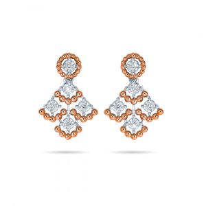Two tone rose and gold diamond Joie de Vivre earrings
