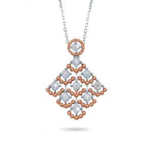 Two tone rose and gold diamond Joie de Vivre pendant