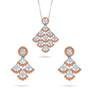 18K gold set of Pendant and Earrings in white and Rose Gold with diamonds