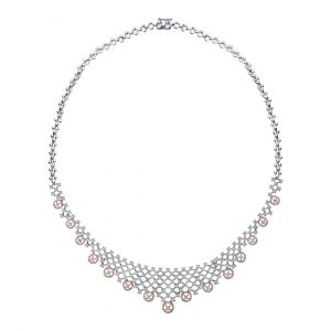 Elegant Diamond Necklace in two tone of 18 K White and Rose gold