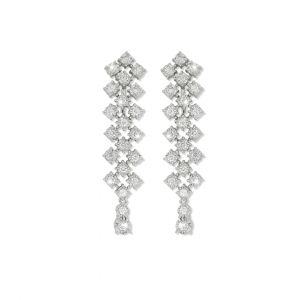 Elegant - Joie long diamond earrings in 18K white gold