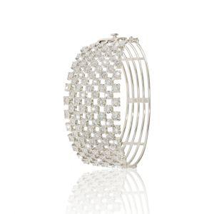 Bangle in 9 Lines of diamonds in 18K White gold