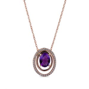 Oval Pendant inAmethyst and Diamonds in 18K Rose Gold