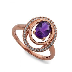 Oval Ring inAmethyst and Diamonds in 18K Rose Gold