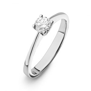 Classic Solitaire Round Diamond Ring in 18K White Gold - 4 prongs (0.5 & 1 Carat)