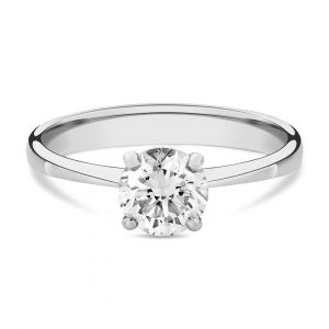 Classic Solitaire Round Diamond Ring in 18K White Gold - 4 prongs