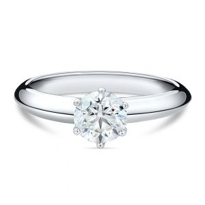 Classic Solitaire Round Diamond Ring in 18K White Gold - 6 prongs