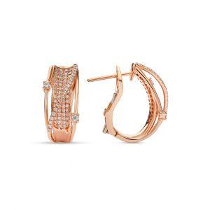 Hoop Earrings in Pave Diamonds set in 18K Rose Gold