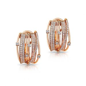 Earrings in 5 lines of Pave Diamonds set in Rose gold