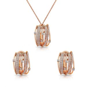 Set of Pendant and Earrings in 18K Rose Gold in Pave Diamonds