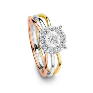 Round Diamond ring with delicate tricolor bands