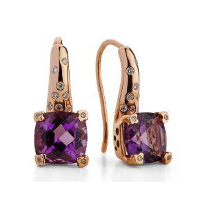 Amethyst Earrings in 18K Rose Gold and Diamond sprinkled huggies