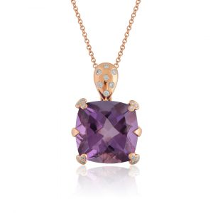 Cushion shaped Amethyst Pendant  in 18K Rose Gold and Diamonds