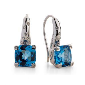 Blue topaz Earrings in 18K White Gold and Diamond sprinkled huggies