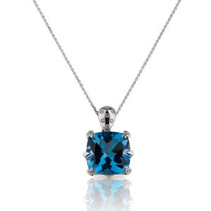 Cushion shaped Blue Topaz Pendant  in 18K White Gold and Diamonds