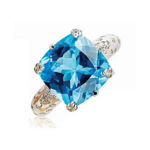Blue Topaz Ring in 18K White Gold and Diamond sprinkled band