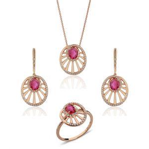 Round Wheel Shaped Ruby Set of Pendant, Earrings & Ring