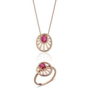 Round Wheel Shaped Ruby Set of Pendant & Ring