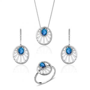 Round Wheel Shaped Sapphire Set of Pendant, Earrings & Ring