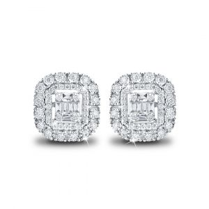 Emerald-cut Halo Diamond Earrings in 18K White Gold