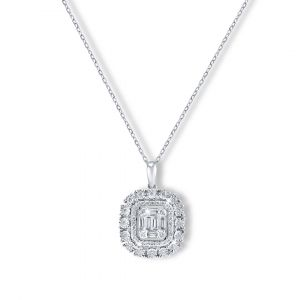 Emerald-cut Halo Diamond Pendant in 18K White Gold