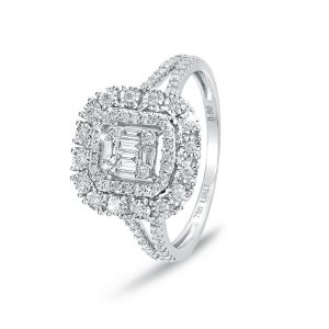 Emerald-cut Halo Diamond Ring in 18K White gold